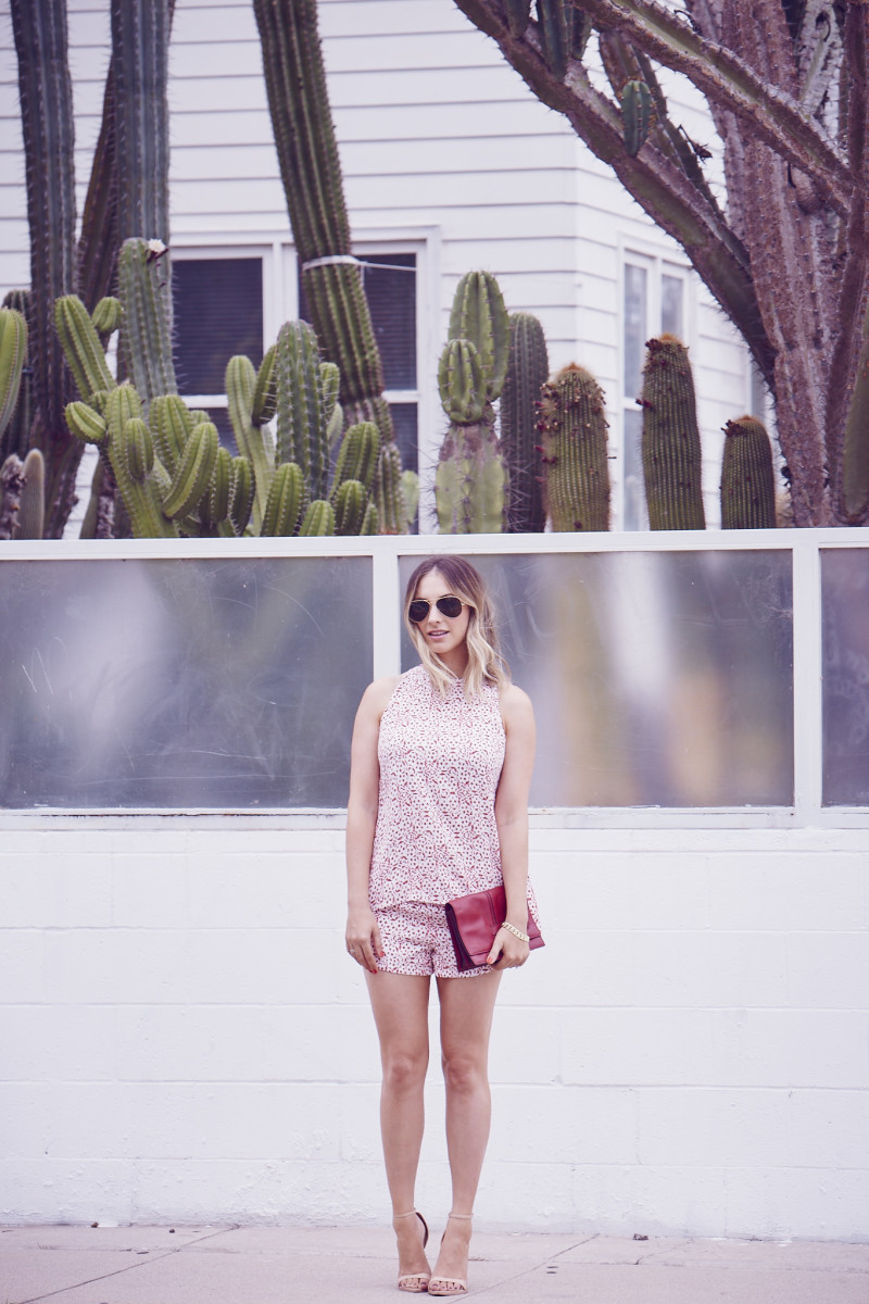 Ray-Ban Aviators, Cupcakes and Cashmere Top and Shorts, Valentino Clutch, Zara Sandals
