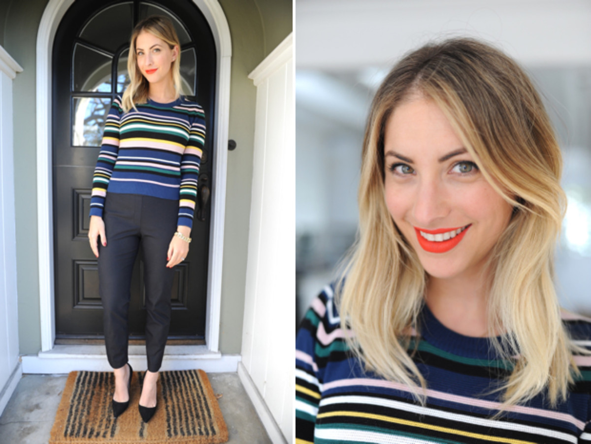 Tuesday: Topshop Shirt, Theory Pants (similar here), Manolo Blahnik Pumps, Estée Lauder 'Restless' Lipstick