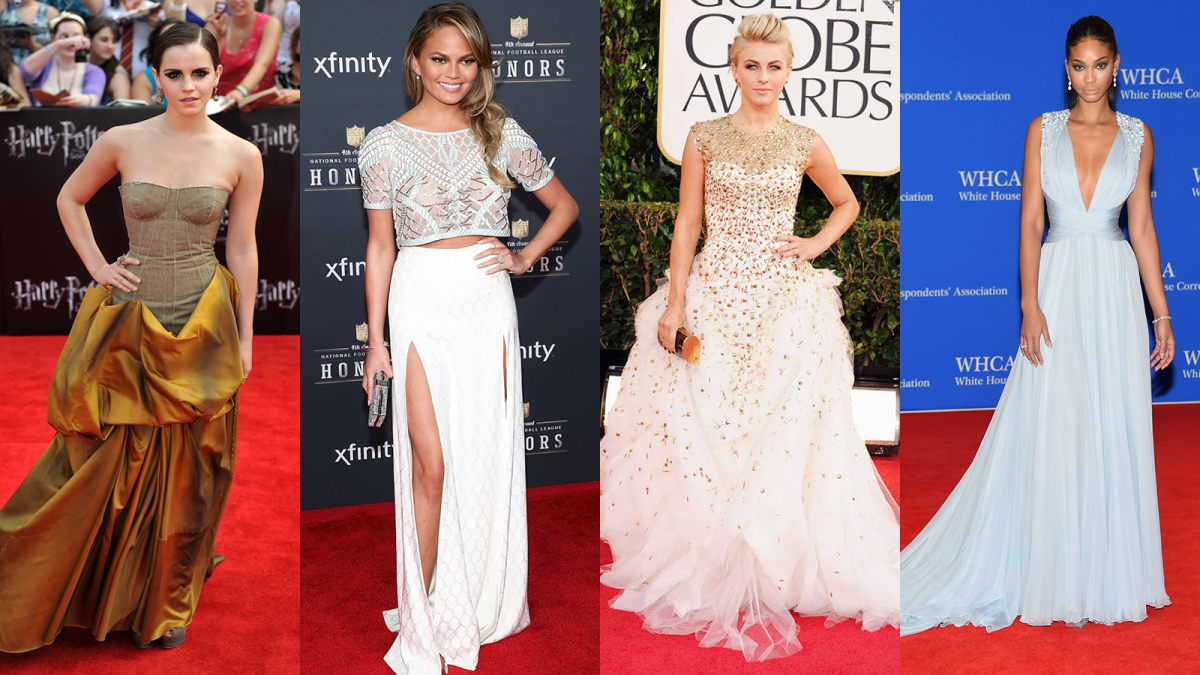 {Some of Anita's awards show looks on Emma Watson, Chrissy Teigen, Julianne Hough, and Chanel Iman}