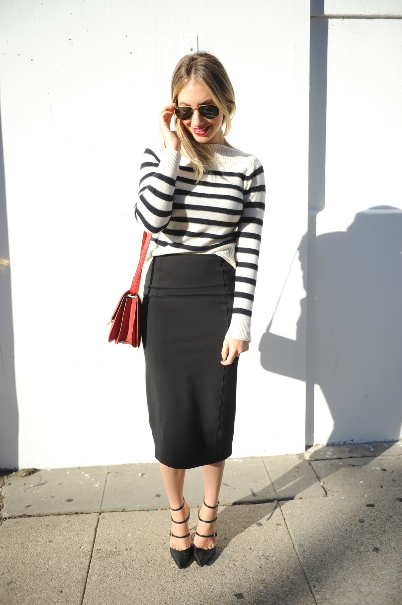 Ray-Ban Aviators, Club Monaco Sweater, Veronica Beard Skirt, Gionvito Rossi Pumps, Celine Bag, Tom Ford 'Cherry Lush' Lipstick