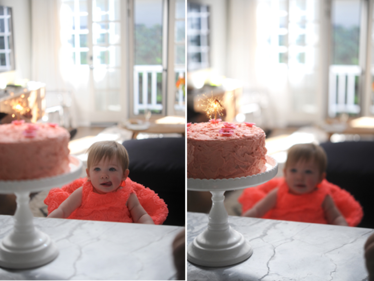 She LOVED the cake (and then promptly smeared it all over her hair)