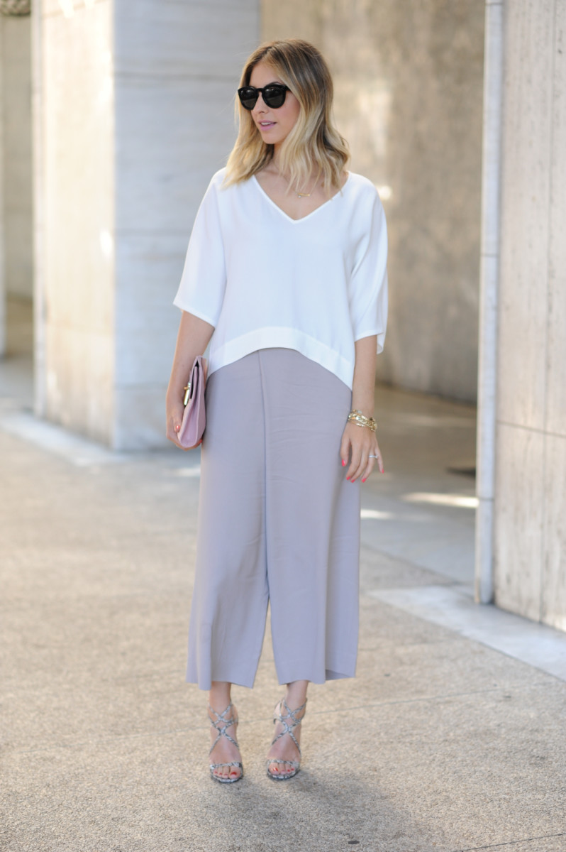 Celine Sunglasses, Club Monaco Top and Pants (on sale), Jimmy Choo Sandals, Balenciaga Clutch