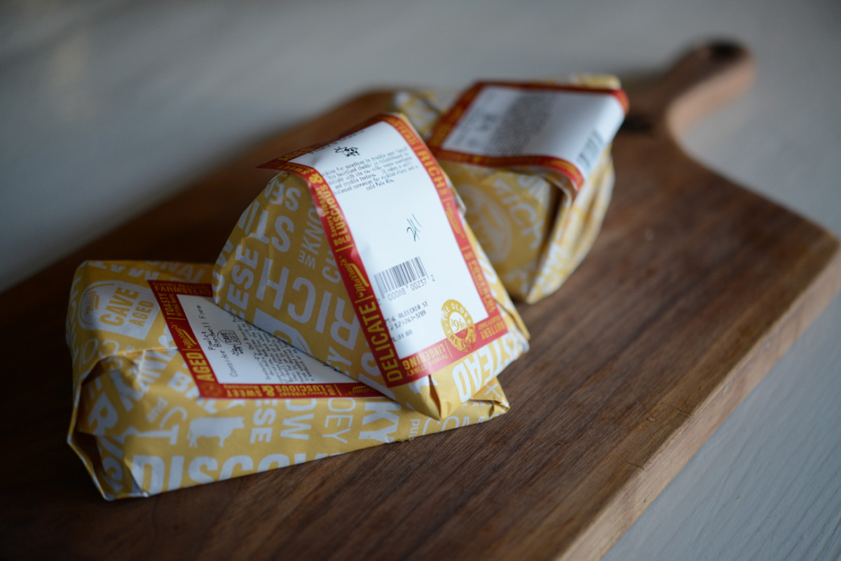 {Cheeses, ready to be unwrapped}