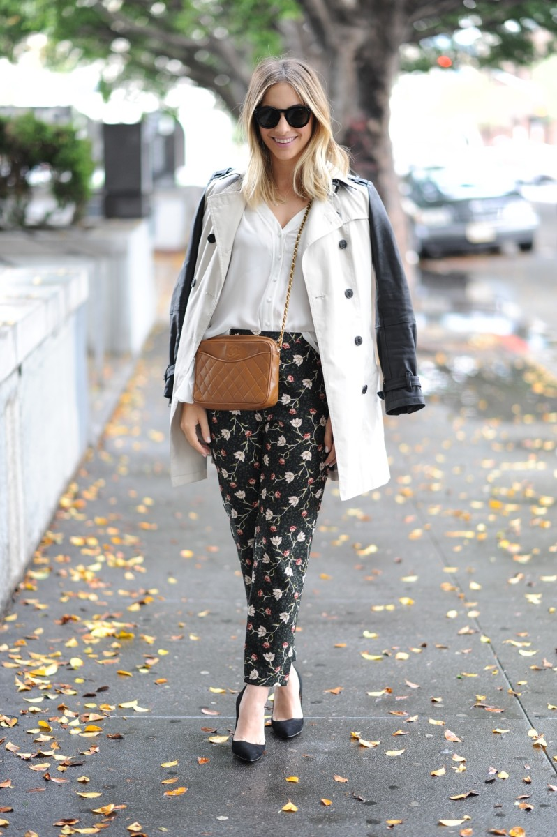 Celine Sunglasses, Burberry Trench, Elizabeth and James Top, Topshop Pants, Vintage Chanel Bag, Manolo Blahnik Pumps