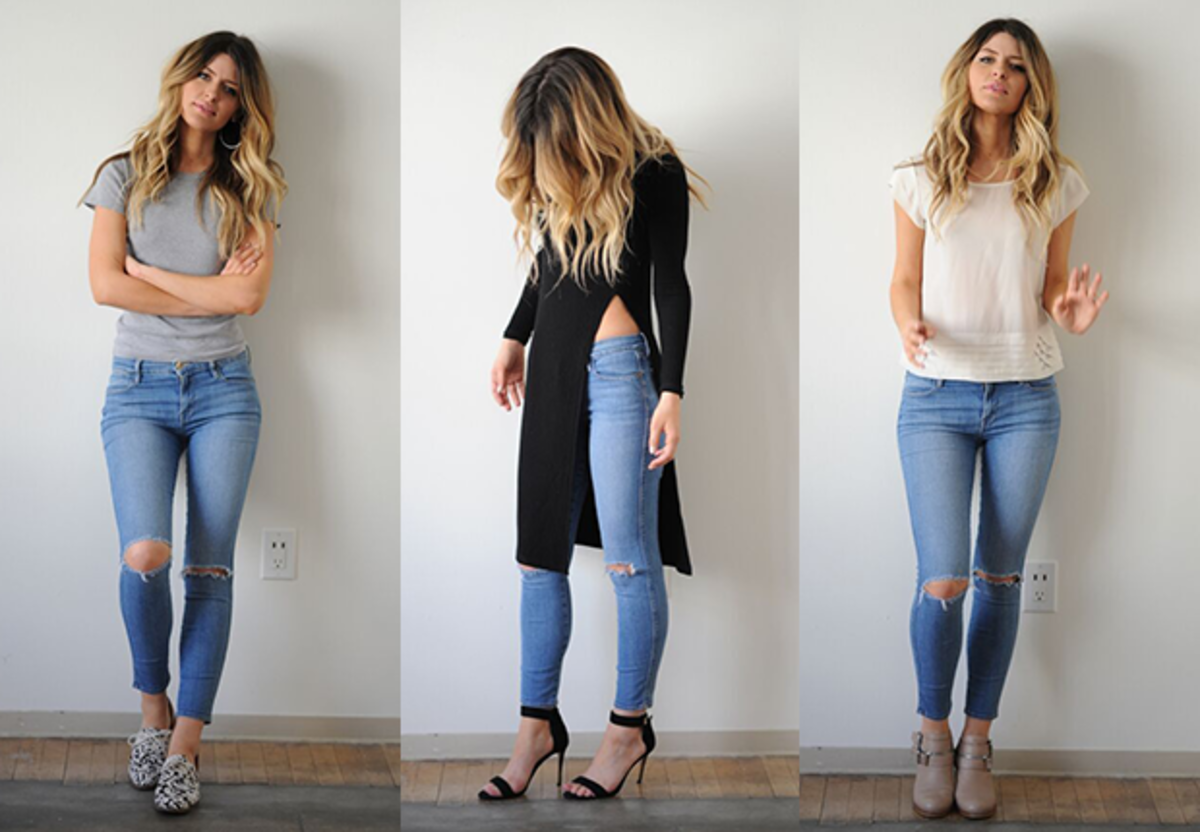 {Left to right; with flats, high heels, and mid-height booties}