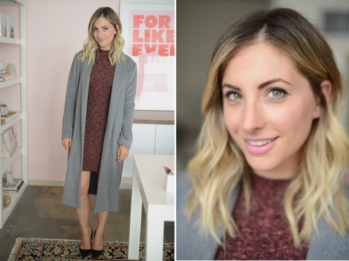 Monday: Cotton One Dress, Cupcakes and Cashmere Coat, Manolo Blahnik Pumps, Maybelline 'Pink Me Up' Lipstick