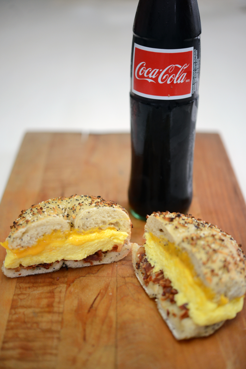 {Thursday's breakfast: bacon, egg, and cheese on a bagel + Mexican Coke}