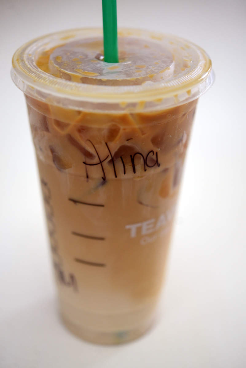 {Friday's breakfast drink: venti iced caramel macchiato from Starbucks}