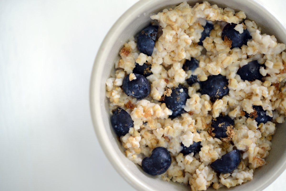 {Monday's breakfast: oatmeal with blueberries}