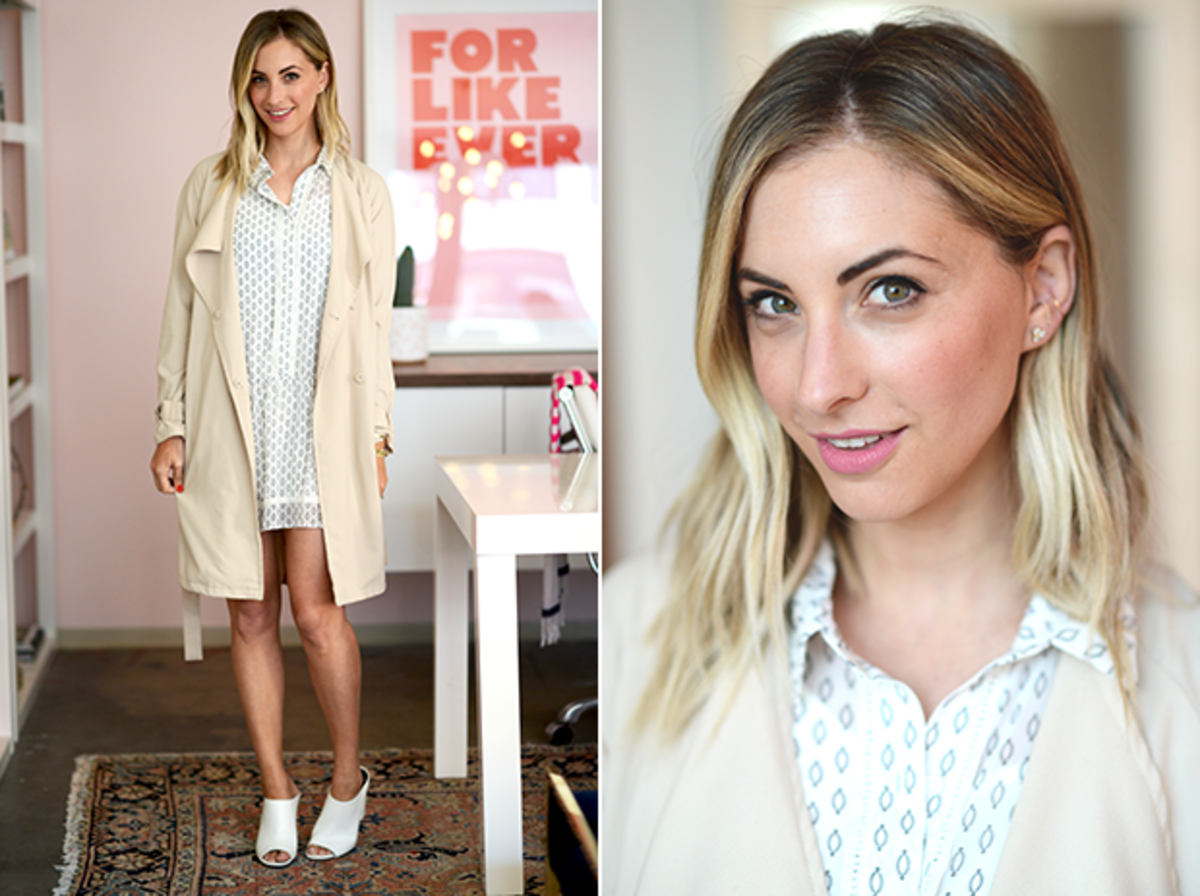 Wednesday: Cupcakes and Cashmere Dress, H&M Trench, Forever 21 Mules, Lancome 'Seal The Deal' Lipstick