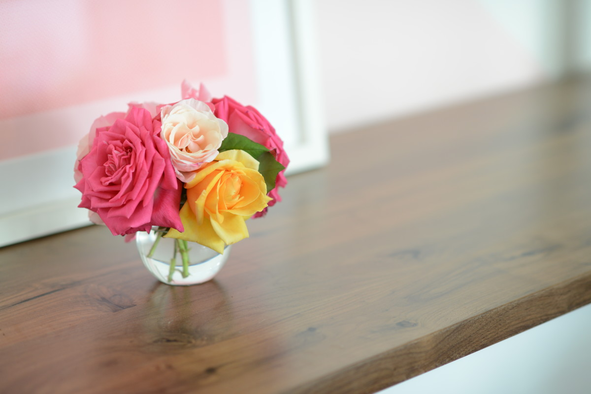 {Roses from our garden that brighten up the office}