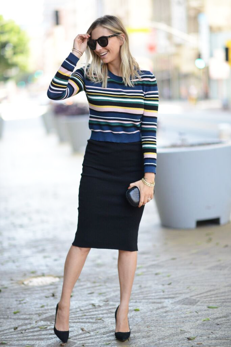 {Celine Sunglasses, Topshop Sweater, James Perse Skirt, Manolo Blahnik Pumps, Alexandra DeClaris clutch}