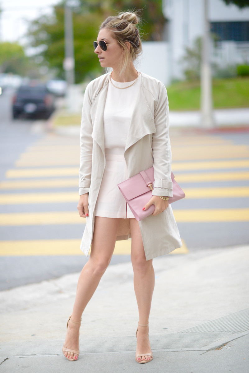 Ray-Ban Aviators, Club Monaco Romper, Cupcakes and Cashmere Trench, Zara Heels, Balenciaga Clutch