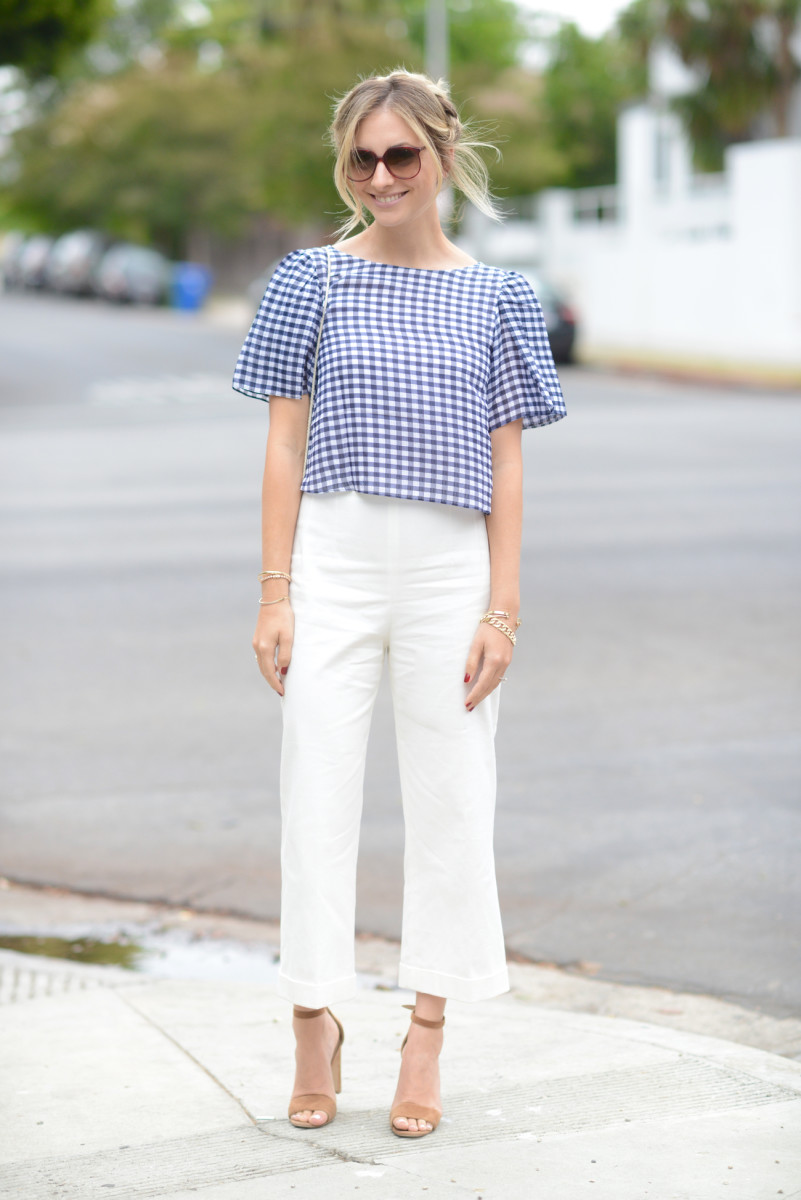 Club Monaco Top and Pants (similar here), Vintage Sunglasses and Bag, Manolo Blahnik Sandals, Essie 'Bourdoux' Nail Polish