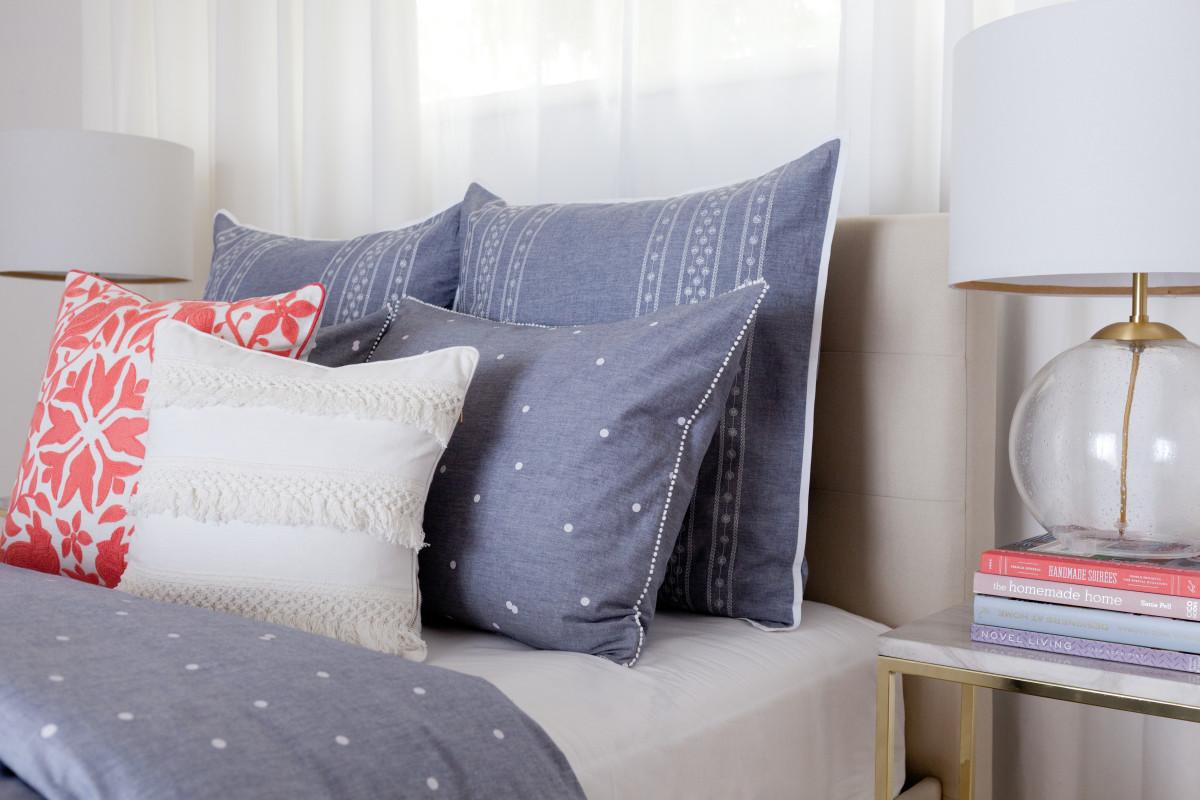 Chambray Dot: duvet cover, pink embroidered pillow, white tassel pillow,polka dot chambray sham, striped chambray Euro sham