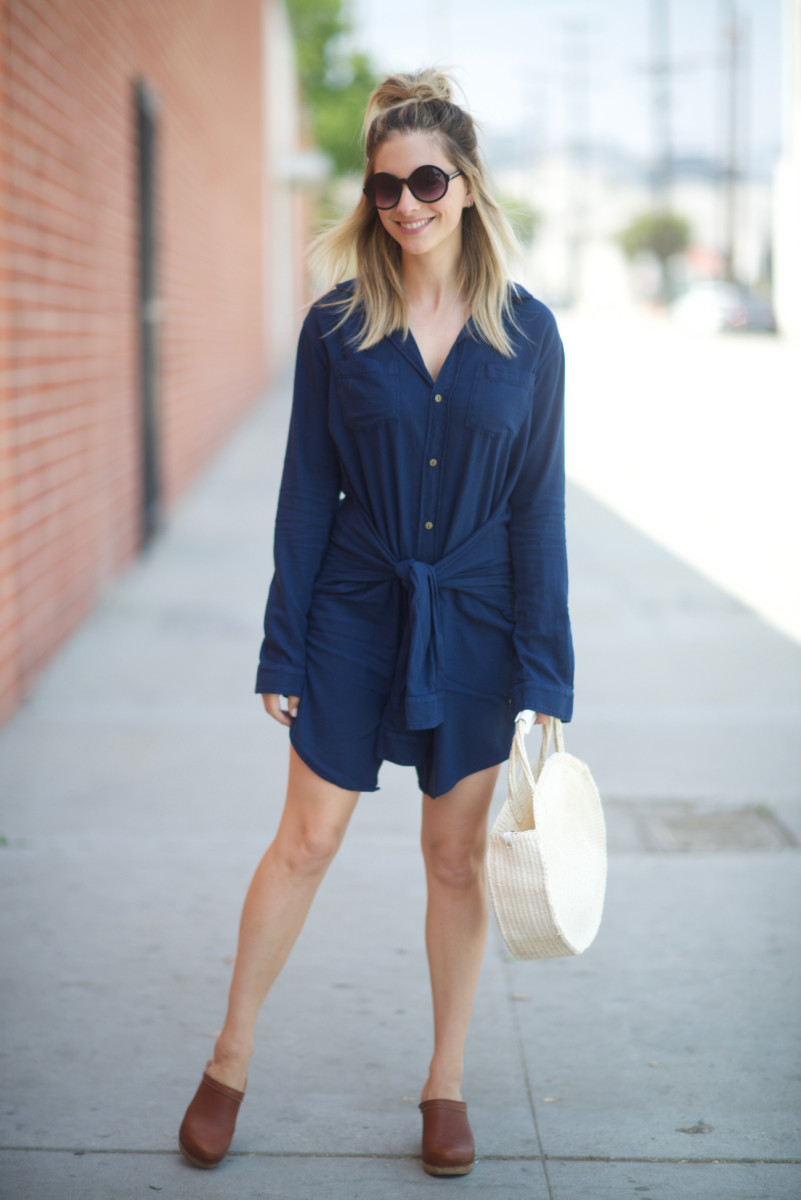 Free People Sunglasses, Current/Elliott Dress, Clare V. Bag, No. 6 Clogs (similar here)