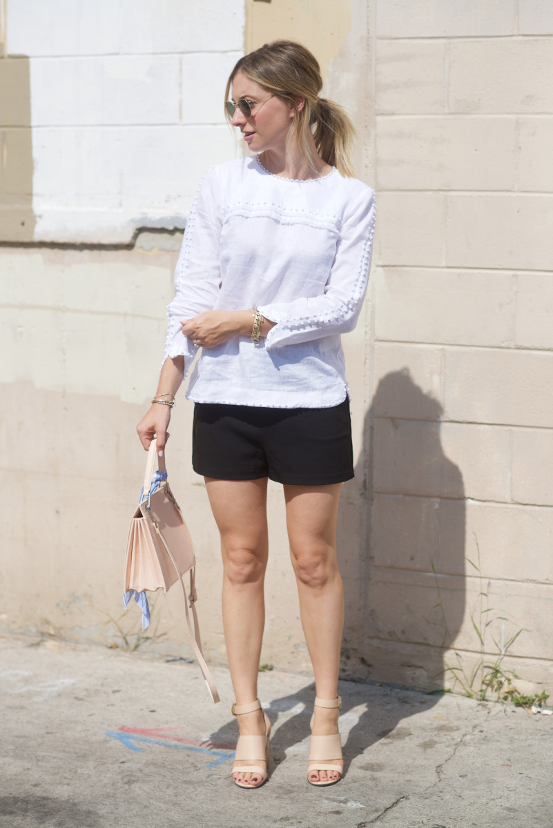 Ray-Ban Sunglasses, J.Crew Top (on sale), Cupcakes and Cashmere Shorts, Givenchy Sandals, Zara Bag