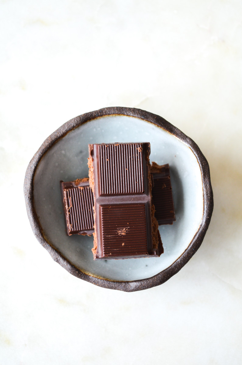 {Friday's treat: a few squares of dark chocolate}