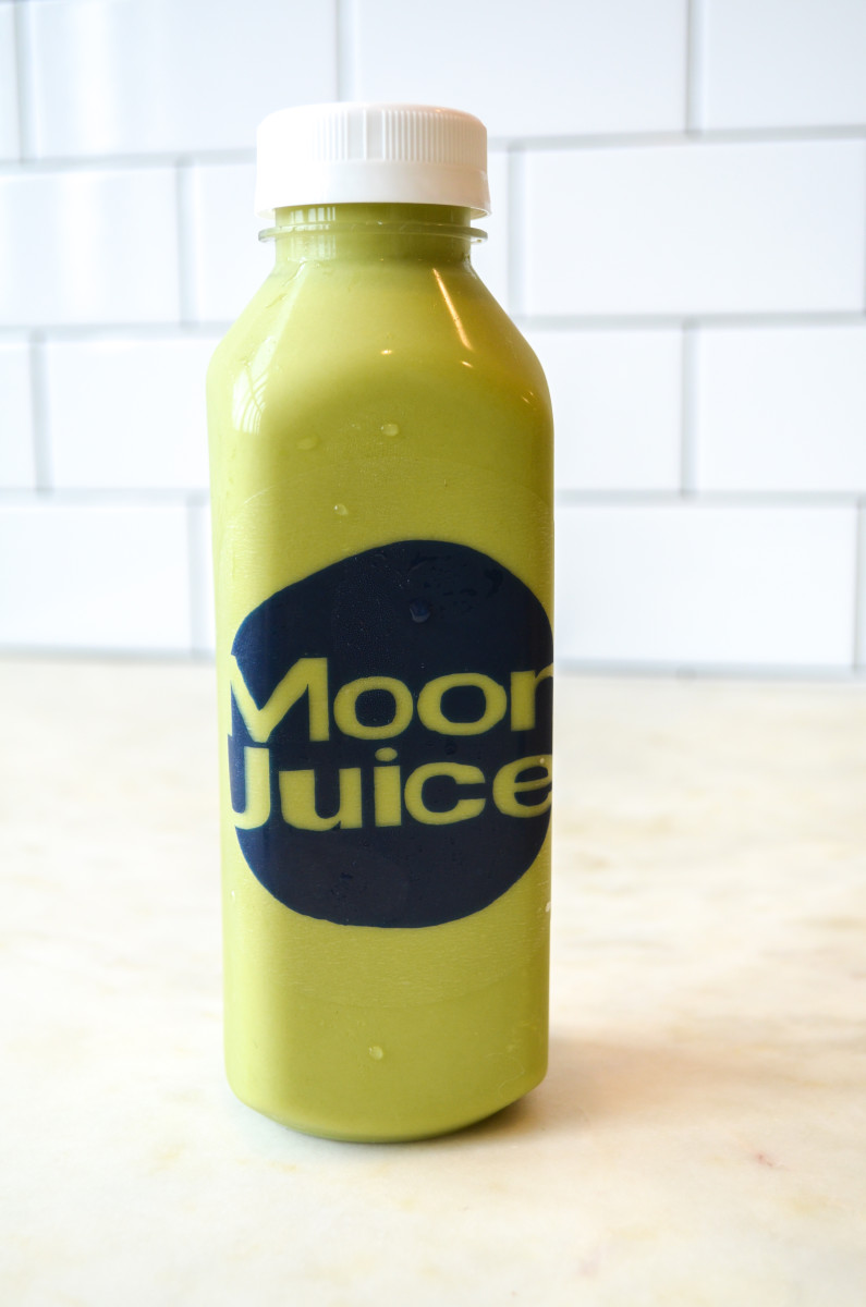 {Monday's post-workout drink: matcha Moon Juice}
