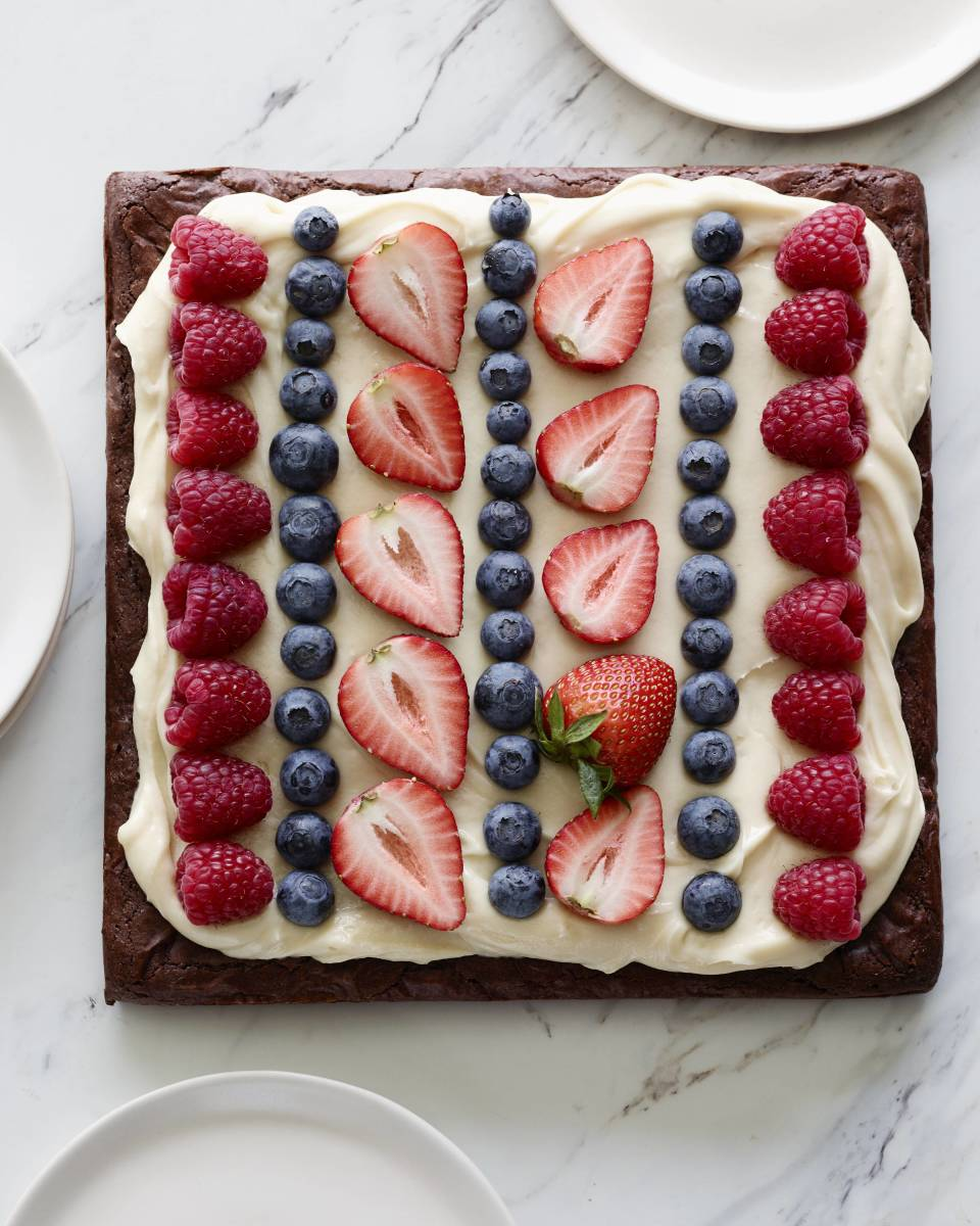 Dark Chocolate Brownies with Cream Cheese Icing and Fresh Fruit