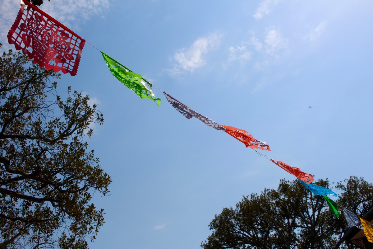 {A Mexican picado banner on Olvera Street}