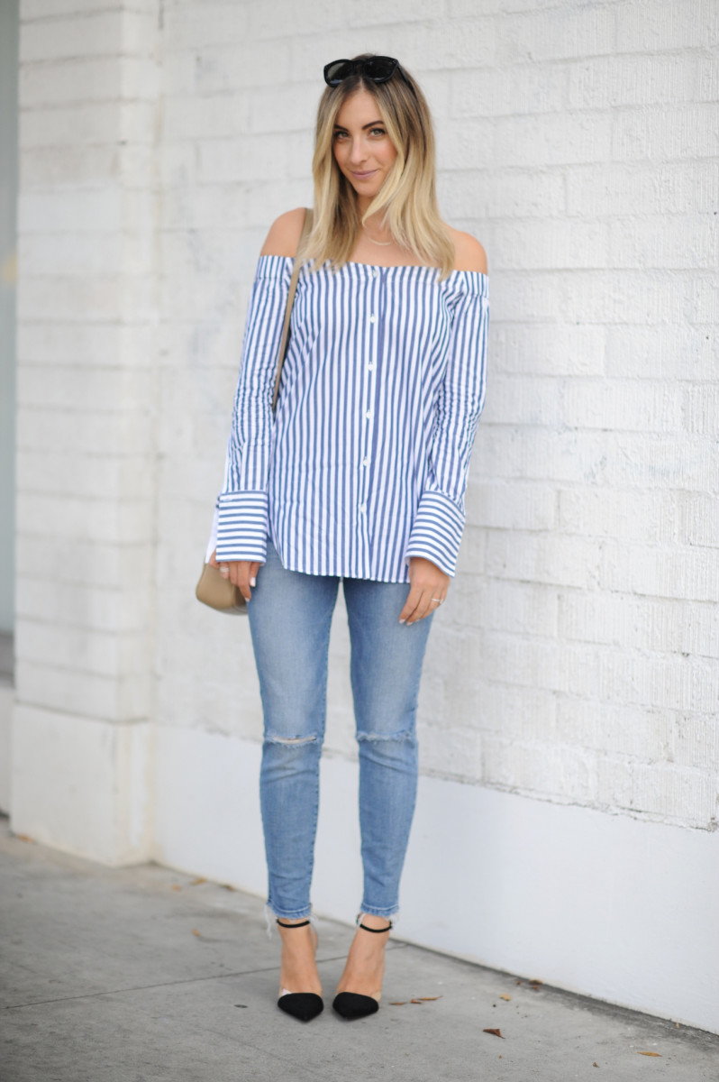Rag & Bone Blouse (also available here), Joe's Jeans, Zara Heels (similar here), Gucci Bag