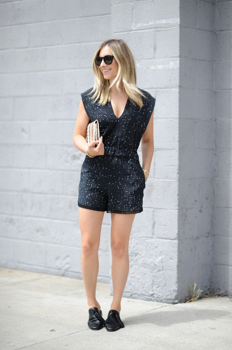 Celine Sunglasses, IRO romper (on sale), Vintage Clutch, Edun Loafers (on sale)