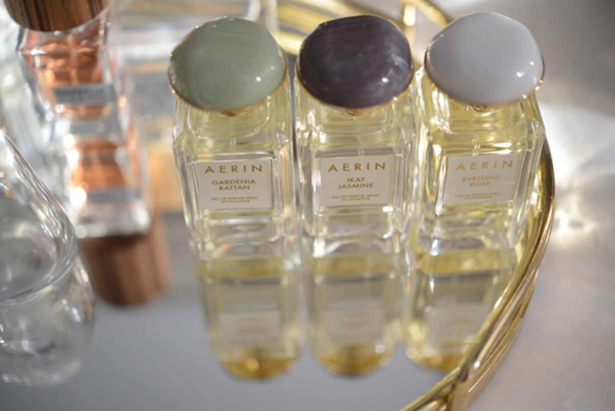 {Aerin Lauder's new fragrance collection complete with beautiful stone tops}
