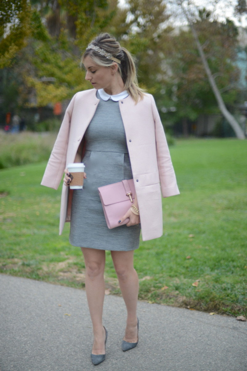 J.Crew Dress, Club Monaco Coat, Balenciaga Clutch, Manolo Blahnik Pumps, Berman Headband