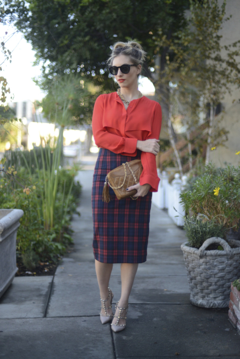 Celine Sunglasses, J.Crew Necklace, Parker Blouse (available in blue), Zara Skirt, Vintage Chanel Bag, Valentino Heels, Nars 'Red Square' Lipstick, Essie 'After School Boys Blazer' Nailpolish.