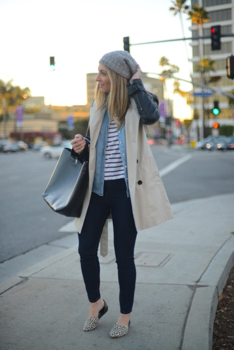 Club Monaco Beanie, H&M Striped Shirt, J.Crew Chambray, Burberry Trench, Zara Bag, Blank Denim, Jenni Kayne Flats
