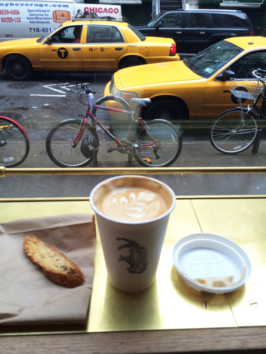 {A quick coffee break at Stumptown Coffee in New York}