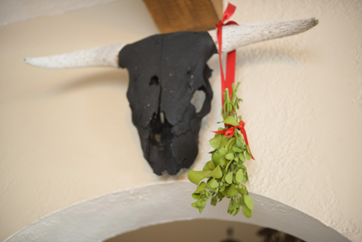 {Holiday decor: hanging mistletoe}