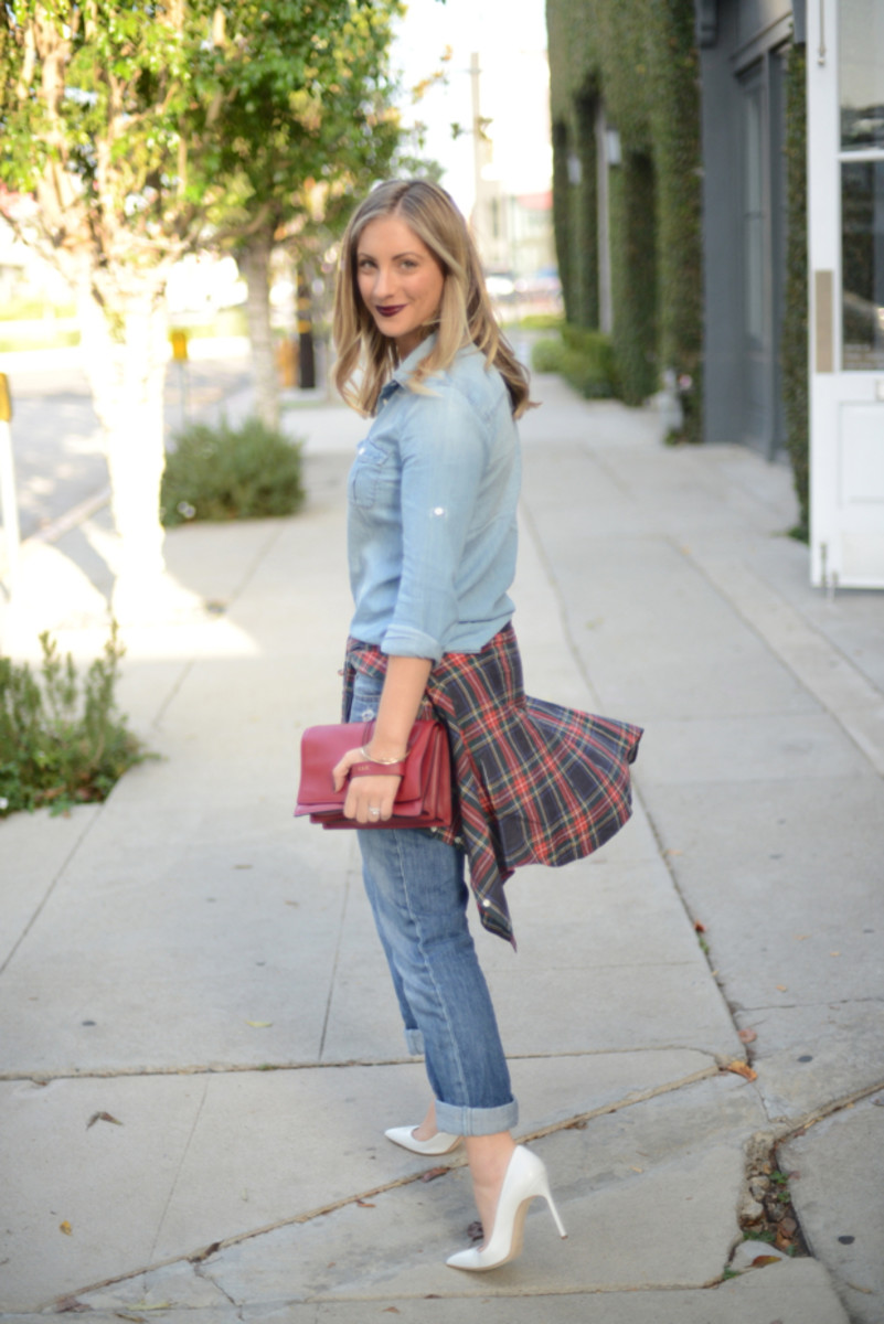 J.Crew Chambray and Plaid Shirt, Gap Jeans, Manolo Blahnik Heels (similar here on sale), Valentino Clutch c/o, Aerin 'Mercer' Lipstick, OPI 'Lincoln Park After Dark' Nail Polish