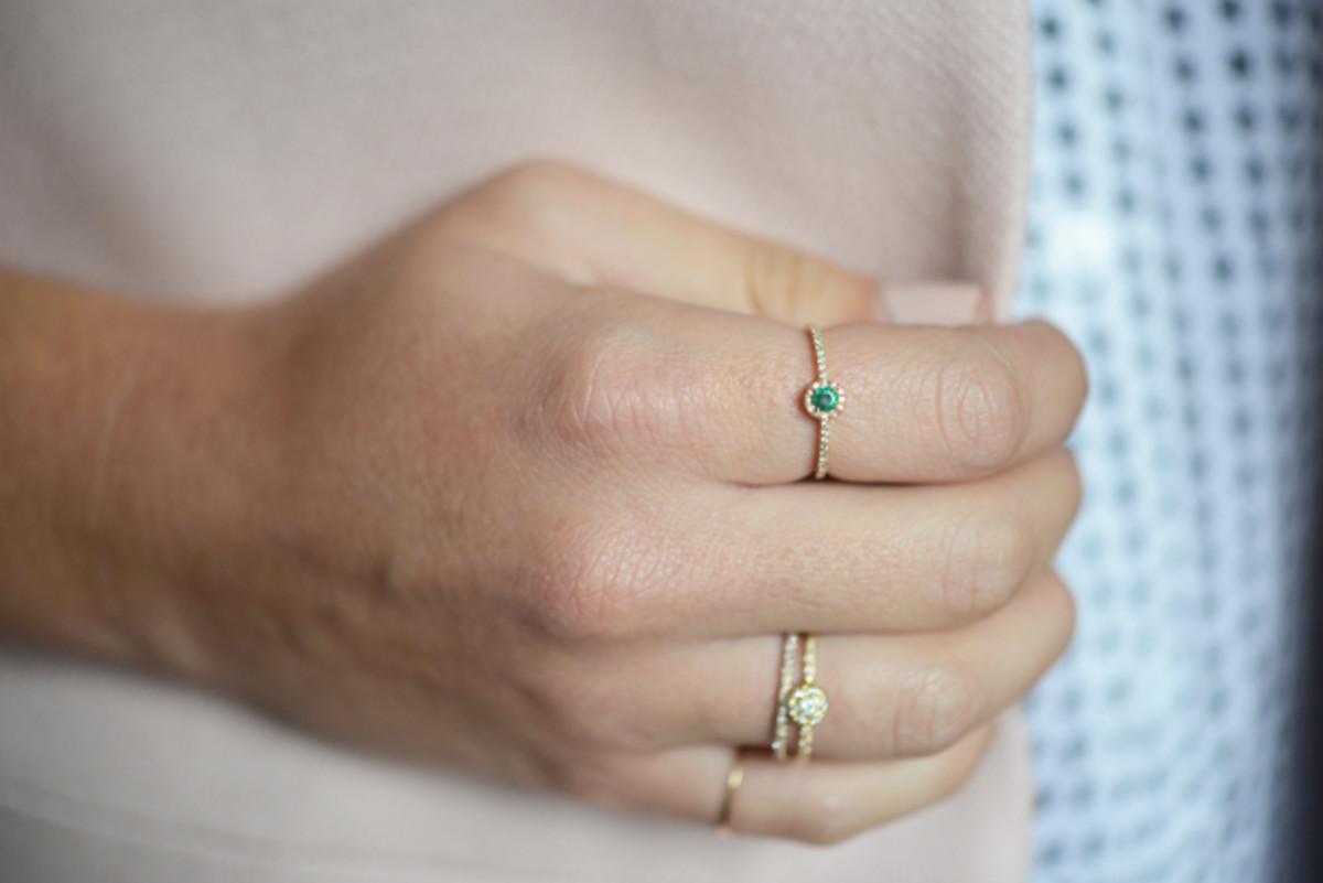 {Dainty emerald birthstone ring from XIV Karats}