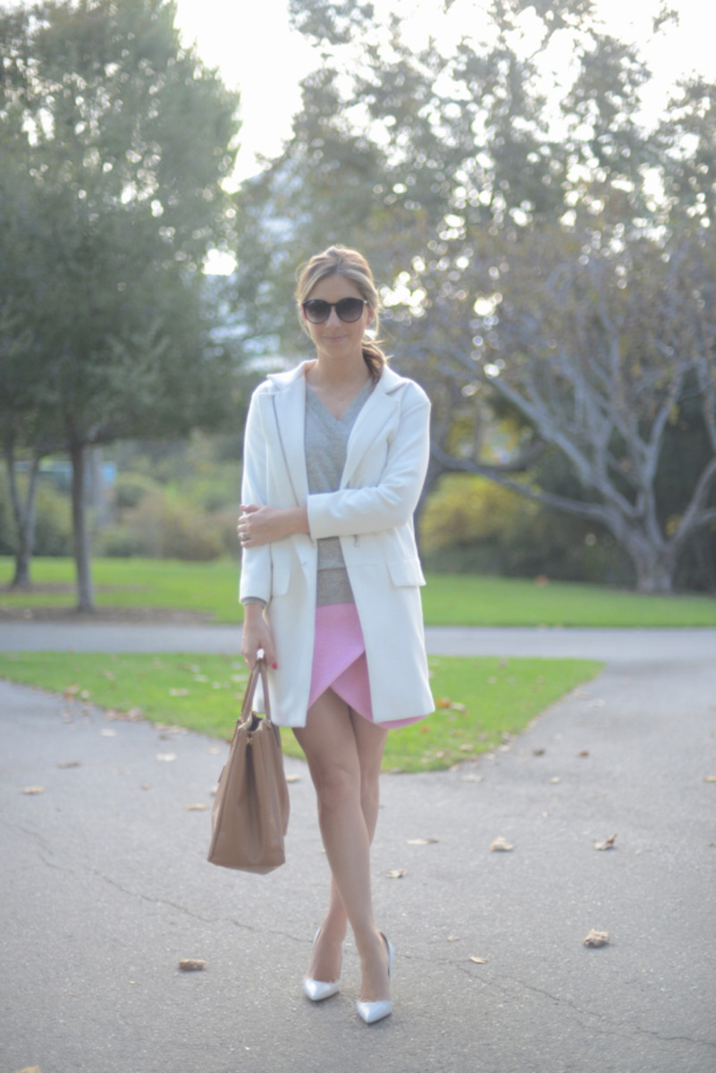 Urban Outfitters Sunglasses, Zara Coat, J.Crew Sweater, Carven Skirt (last seen here), Prada Purse, Manolo Blahnik Pumps