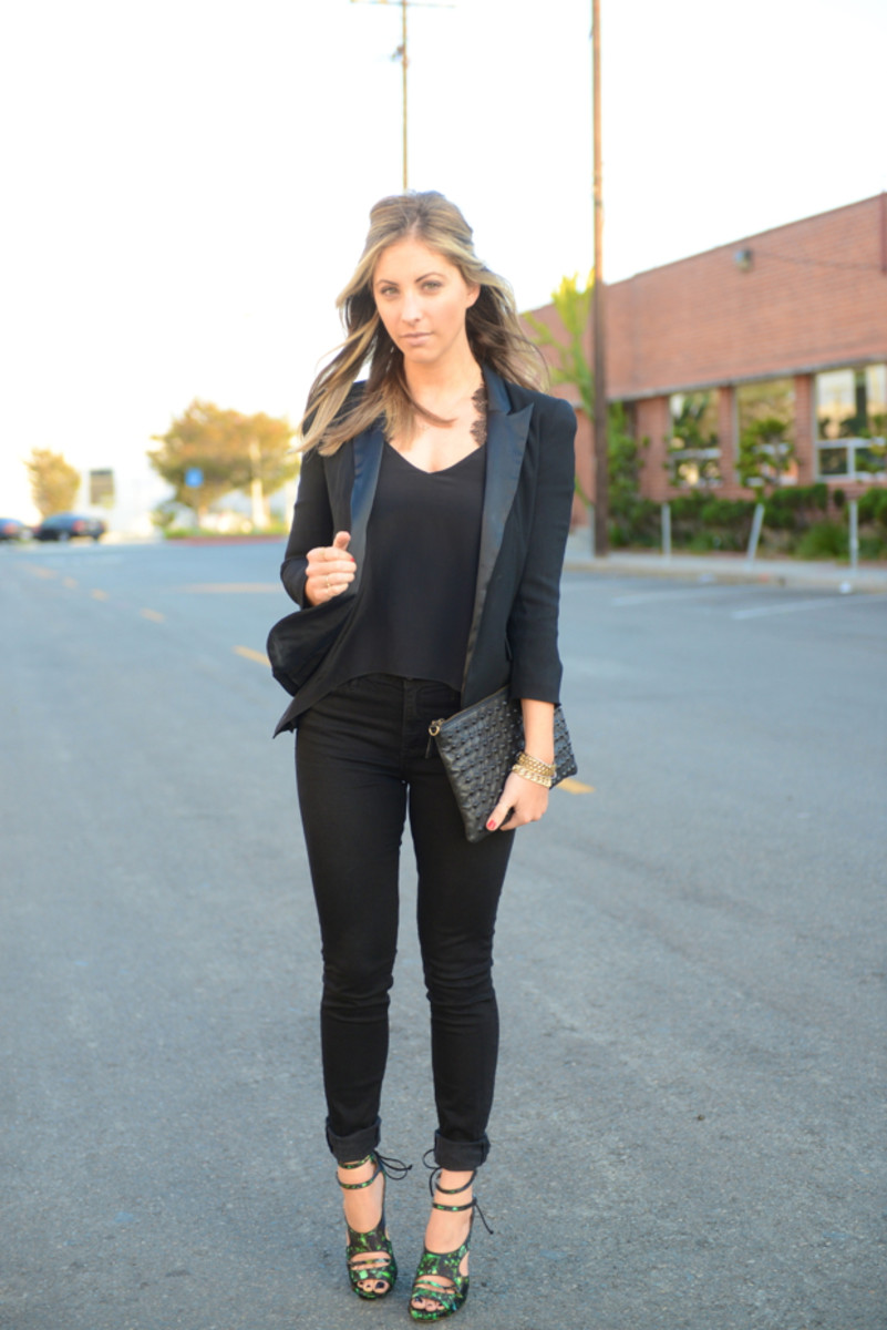Topshop Blazer, Mason by Michelle Mason Top, Madewell Jeans (similar on sale here), Tabitha Simmons Heels c/o The Editorialist, Topshop Clutch