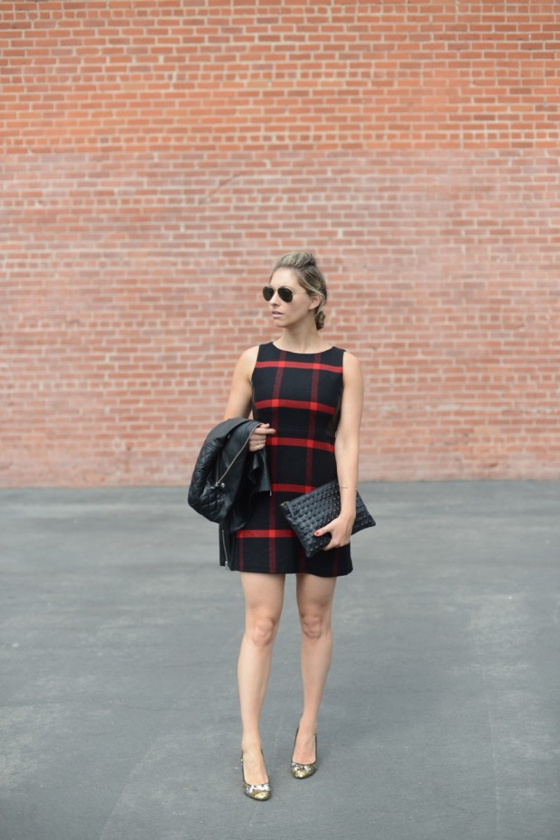 Ray-Ban Sunglasses, Alice + Olivia Dress, Anine Bing Leather Jacket, J.Crew Pumps (on sale), Topshop Clutch
