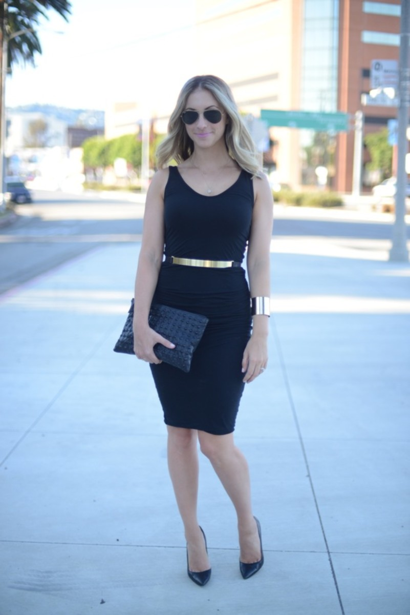 Ray-Ban Aviators, James Perse Dress, Nicholas Belt, Manolo Blahnik Heels, Topshop Cuff and Clutch