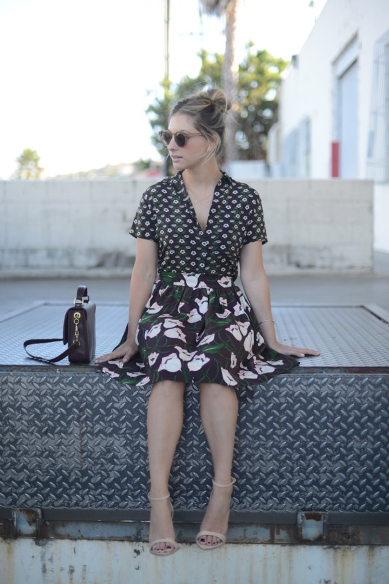 Illesteva Sunglasses, Topshop Top & Skirt, J.Crew Purse (love this quilted version), Zara Sandals