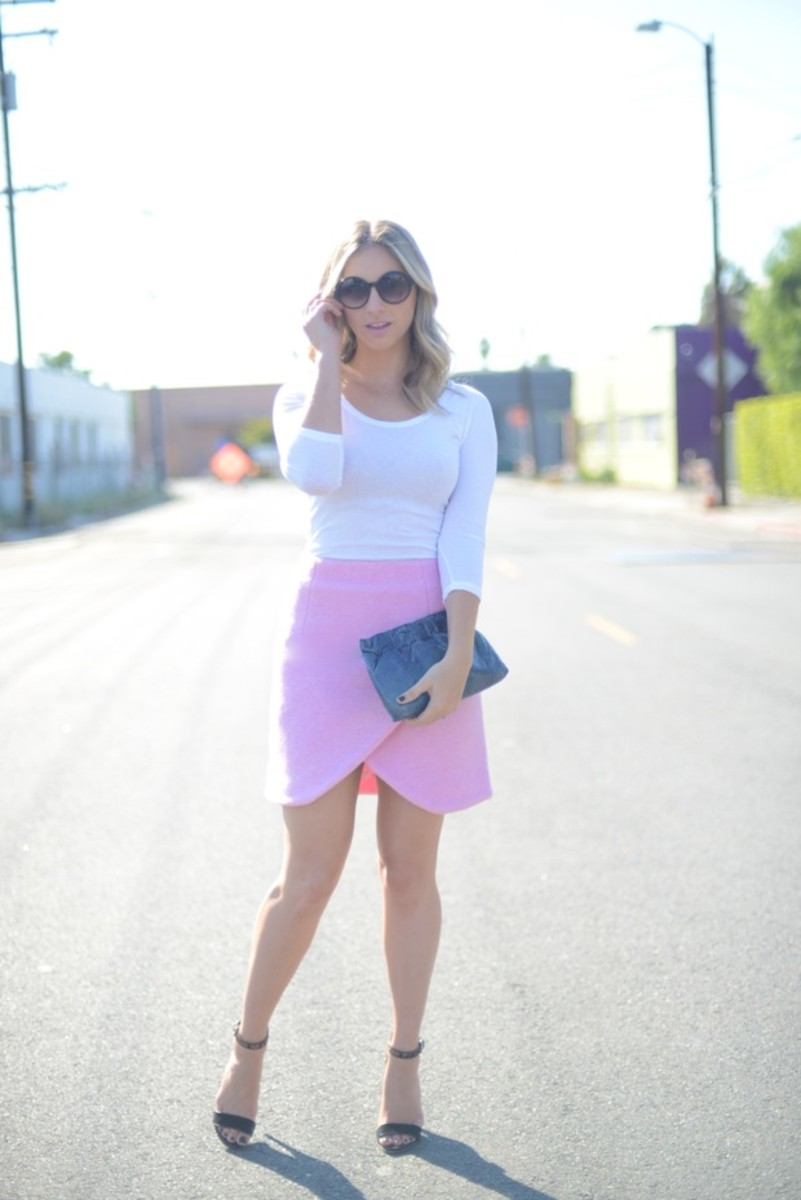 Free People Sunglasses, James Perse Shirt, Carven Skirt, Club Monaco Heels, Vintage Clutch