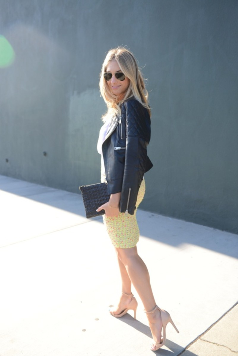 Ray-Ban Aviators, Anine Bing Leather Jacket, T by Alexander Wang Tank, Cosabella Bralette, J.Crew Skirt, Topshop Clutch (similar here), Zara Heels (similar here), Essie 'Blanc' Nail Polish