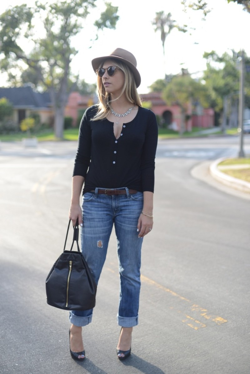 J.Crew Hat, Illesteva Sunglasses, Vintage Necklace, LNA Henley (similar here), Gap Jeans (similar here), Club Monaco Belt, Elizabeth and James Backpack c/o, Louboutin Heels