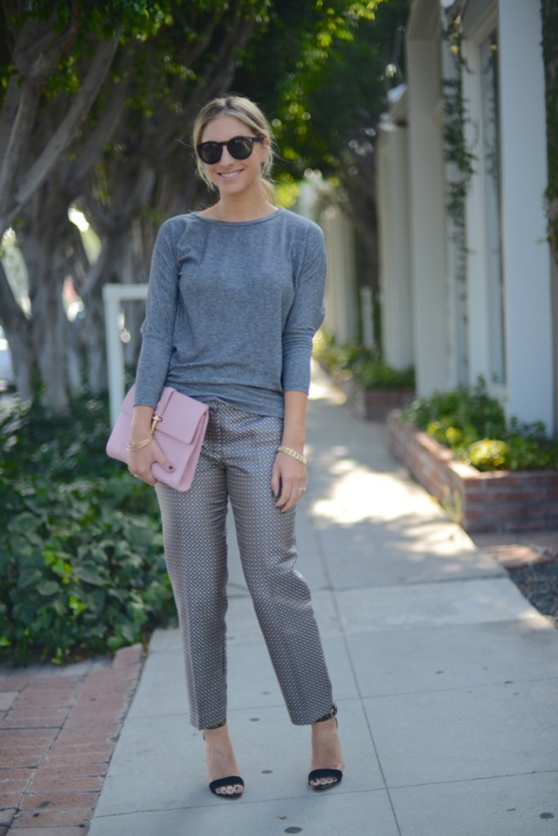 "Celine Sunglasses, Forever 21 Sweatshirt, J.Crew Pants, Club Monaco Sandals c/o, Balenciaga Clutch, Deborah Lippmann ""Laughin' to the Bank"" Nail Polish"