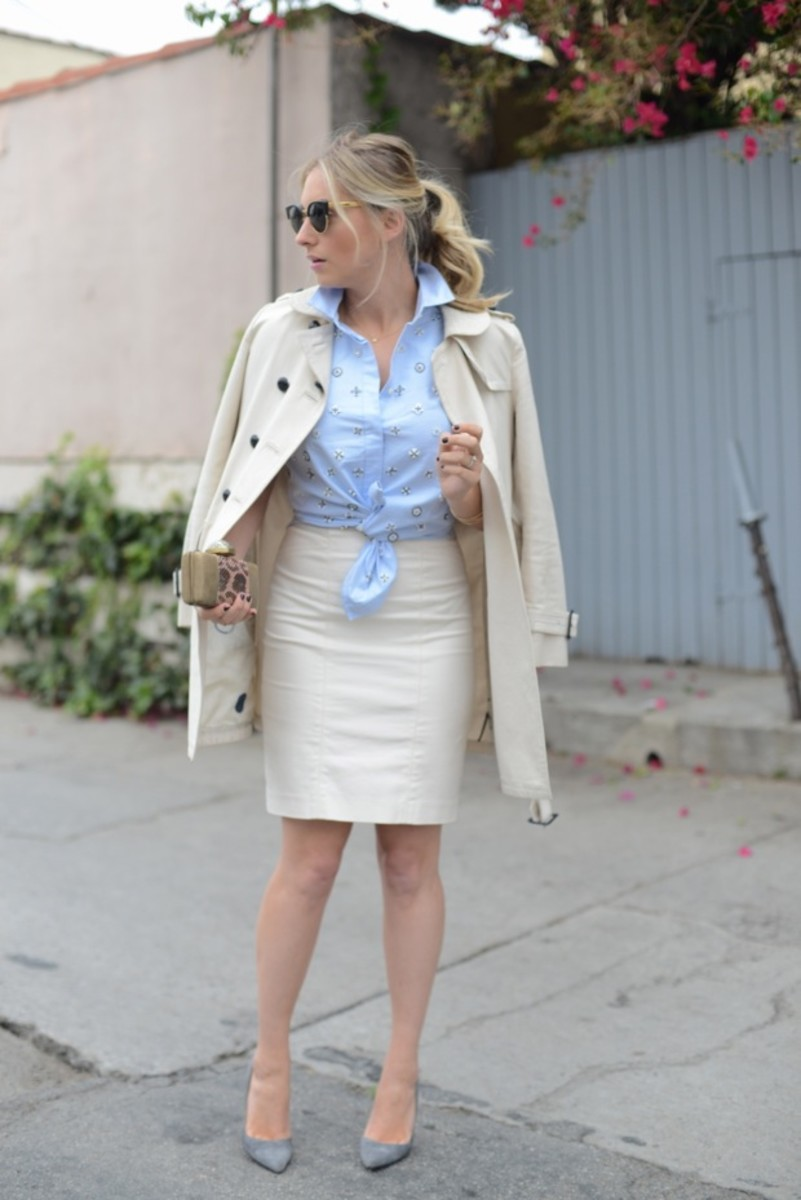 Super Sunglasses, Coach Trench (similar here), J.Crew Shirt, Club Monaco Skirt, Manolo Blahnik Heels, Kelly Wearstler Clutch
