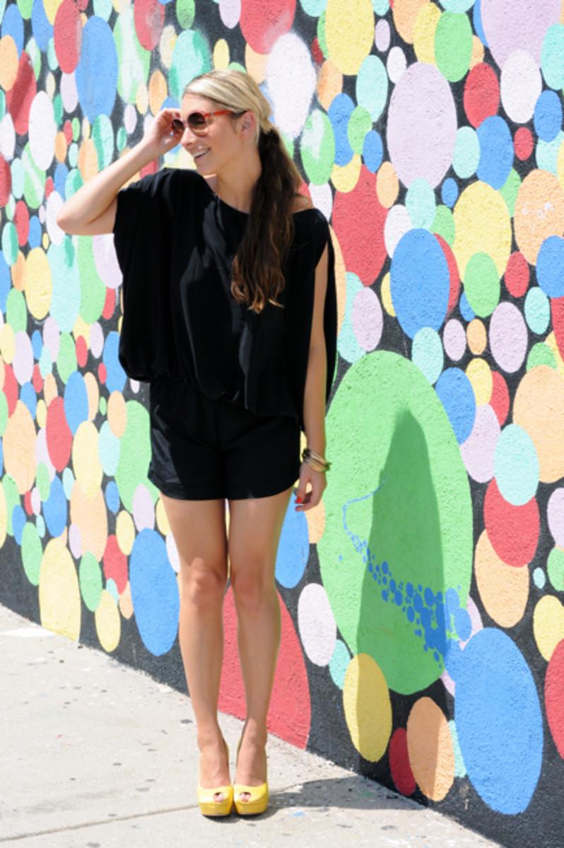 Karina Grimaldi Romper, Vintage Lanvin Sunglasses, Forever 21 Bangles, Alexander McQueen Pumps