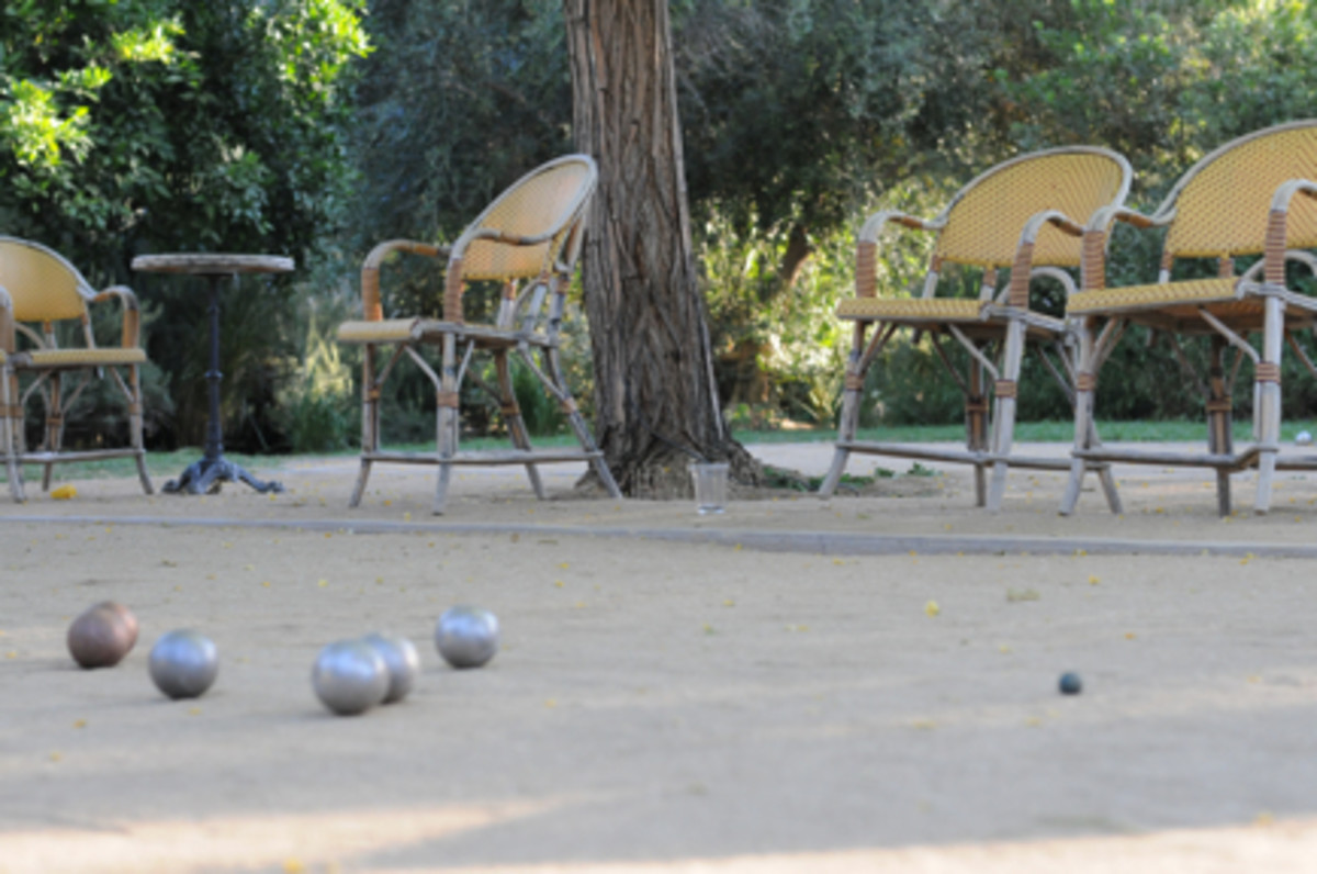 {We took advantage of the Petanque court at dusk.}