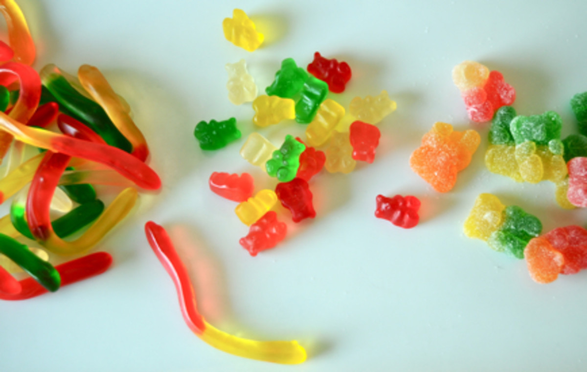 {Old-school movies + gummy candies}