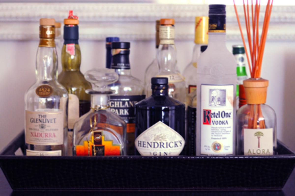 {A fully stocked bar}