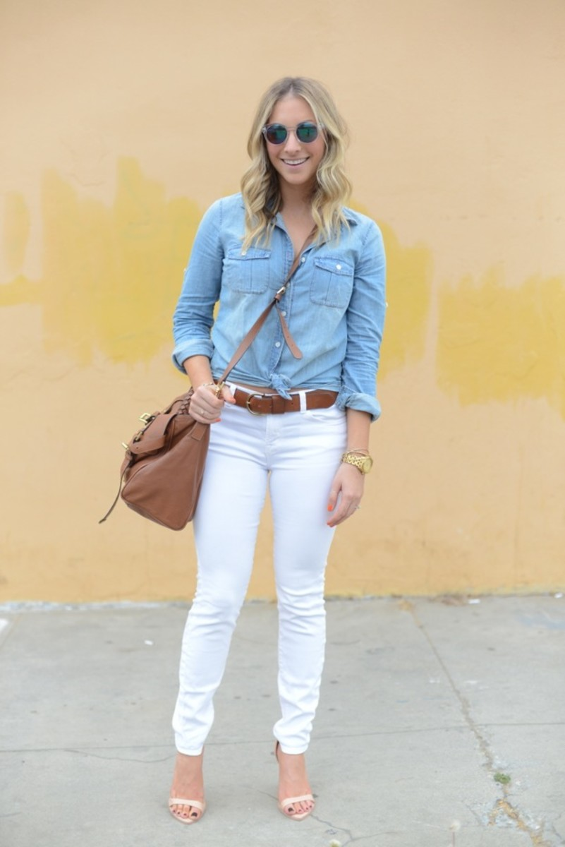 H&M Sunglasses, J.Crew Chambray Shirt, J Brand Jeans, Madewell Belt, Mulberry Bag, Nixon Watch, Zara Sandals